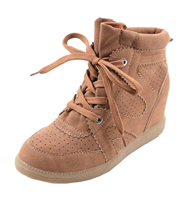 42129ff7814b Womens Ladies Faux Suede Lace Up Hidden Wedge Heel High Top Fashion Sneaker  Trainer Ankle Shoes