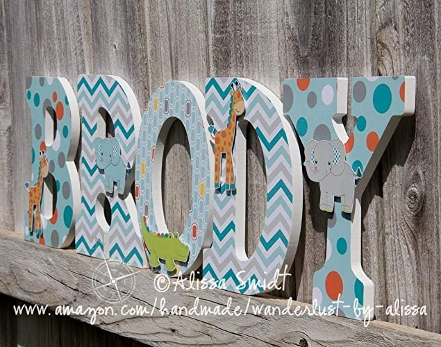 Jungle Animals Custom Nursery Wooden Letters, Baby Nursery - Jungle Animal Theme Custom Letters, Designed to Coordinate with Yoo-Hoo Nursery Bedding - PRICE ...