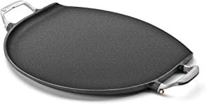 Outset 76612 Cast Iron Grill Skillet and Pan with Forged Handles for Pizza, Eggs, Pancakes, Burgers and Steaks, 14-inch, Black