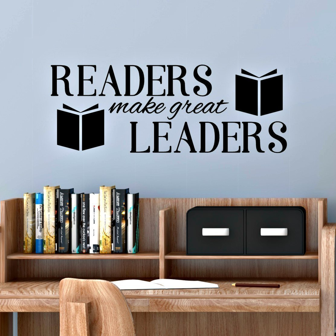 Amazon reading corner decal readers make great leaders amazon reading corner decal readers make great leaders classroom wall decal 30w x 11 h black handmade amipublicfo Choice Image