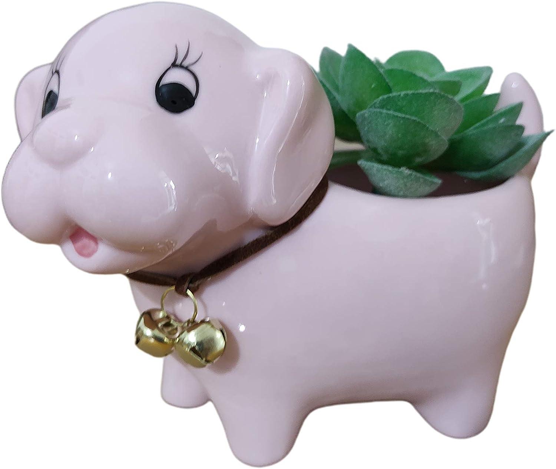 Cute Cartoon Animal Dog Shaped Ceramic Succulent Cactus Flower Pots Planters for Home Garden Office Desktop Decoration (Plants Not Included) (Pink)
