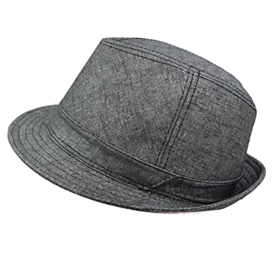 IFSUN Men   Women s Fedora Hats Classic Short Upturn Brim Panama Cap Jazz  Hat at Amazon Men s Clothing store  e202b9fbf79