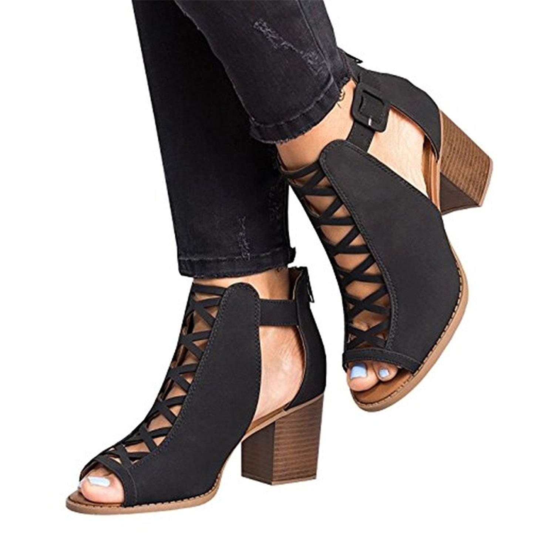 Sandalias para Mujer, Zapatos de Tacón Medio Mujer, Playa Zapatos de Verano, Zapatos de Boca de Pescado, Sandalias de Punta Abierta, Negro Caqui 35-43 T180718S4-J