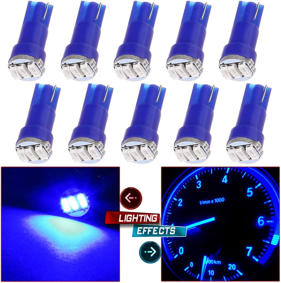 10 Pack T5 73 Wedge 3-3014SMD Instrument Gauge Dash Light LED Bulbs (Blue)