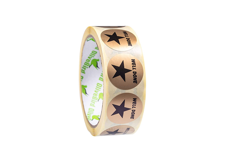 Dimensione 30mm 500 x Ricompensa Adesivi Oro Stars Etichette Rotonde Ben Fatta il Rotolo