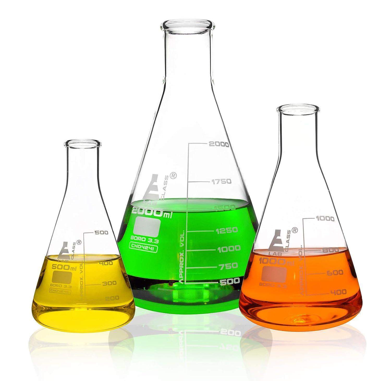 500ml Erlenmeyer Flask ; Narrow Neck Eisco Labs 3.3 Borosilicate Glass Single flask