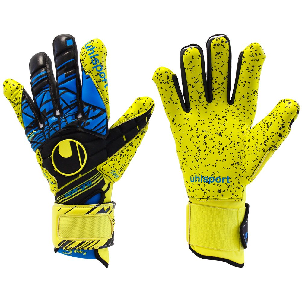 Mens UHLSPORT SPEED UP NOW SUPERGRIP HN 7 Goalkeeper Gloves yellow For Soccer by uhlsport