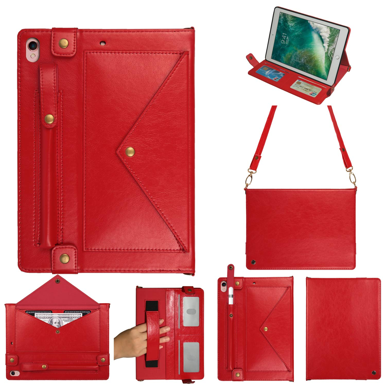 3rd Gen iPad Pro 12.9 Cover, Multi-function Wallet Protective Cover with Card Slot/Cash Pocket/Pen Holder/Hand &Shoulder Strap/Classic Buckle Closure Shoulder Bag Book Case for iPad Pro 12.9 2018,Red by TechCode