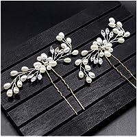 wotu 2 Pcs Crystal Hair Pins, Wedding Bridal Rhinestone Flower Pearl Hair Clips Jewelry Women Hair Accessories
