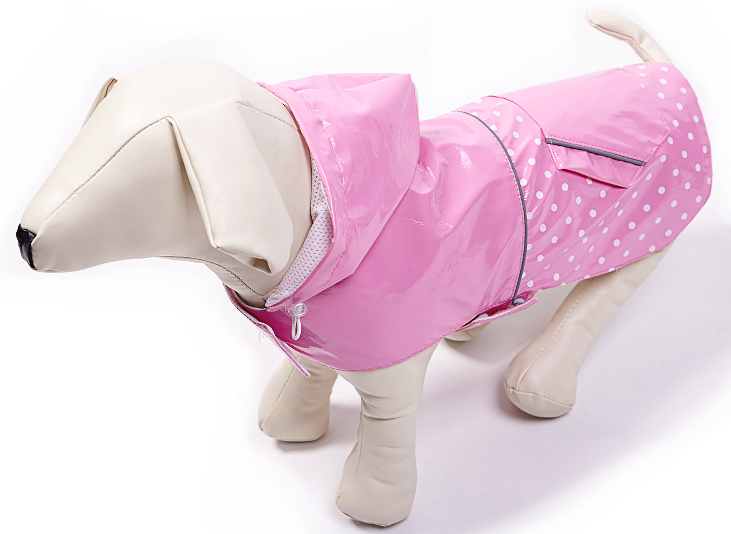 BINGPET BA1888 Fashion Reflective Waterproof Dog Raincoat Cute Dots Pattern Outdoor Hooded Rain Coat for Dogs, Pink S