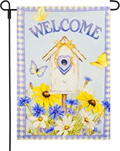 LAYOER 12.5 x 18 Inch Garden Yard Flag Dould Sided Flowers Butterfly Welcome Mini Banner