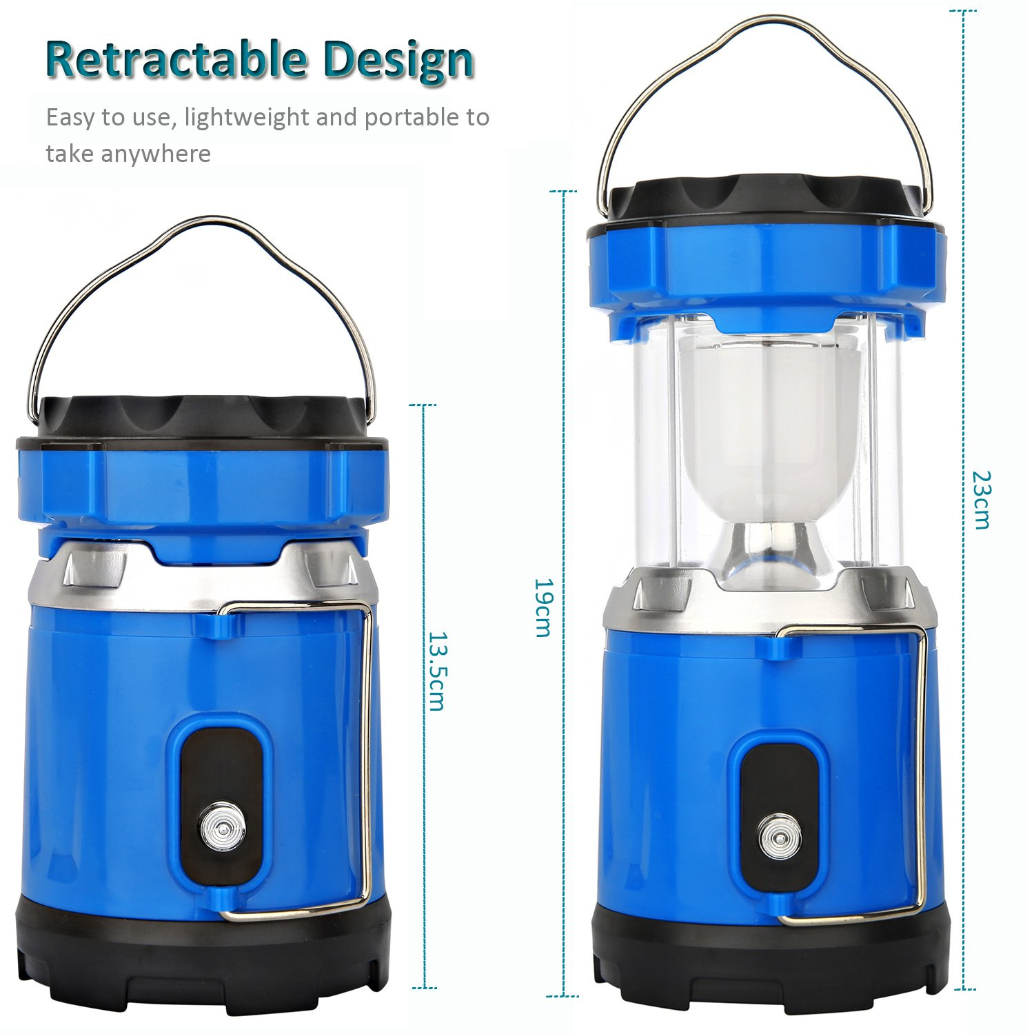 Camping Lantern Light, IRuiYinGo Rechargeable Lamp Solar LED Flashlight with Hanging Blue Color, Great light for Camping/ Hiking/ Backpacking...Outdoor Activities by IRuiYinGo (Image #2)
