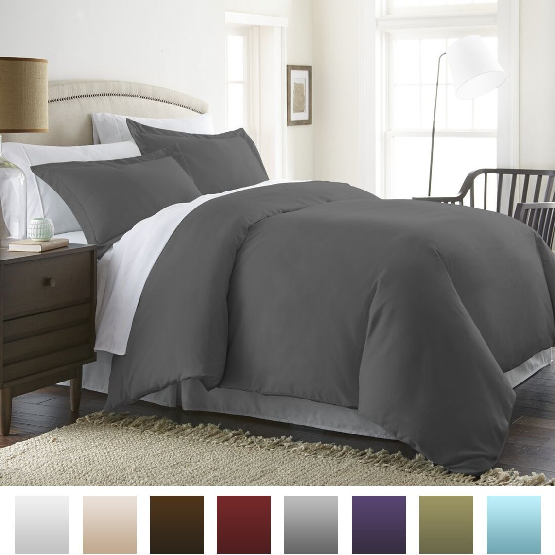 Hypoallergenic Microfiber 3-Piece Duvet Cover Set, Full/Queen, Gray