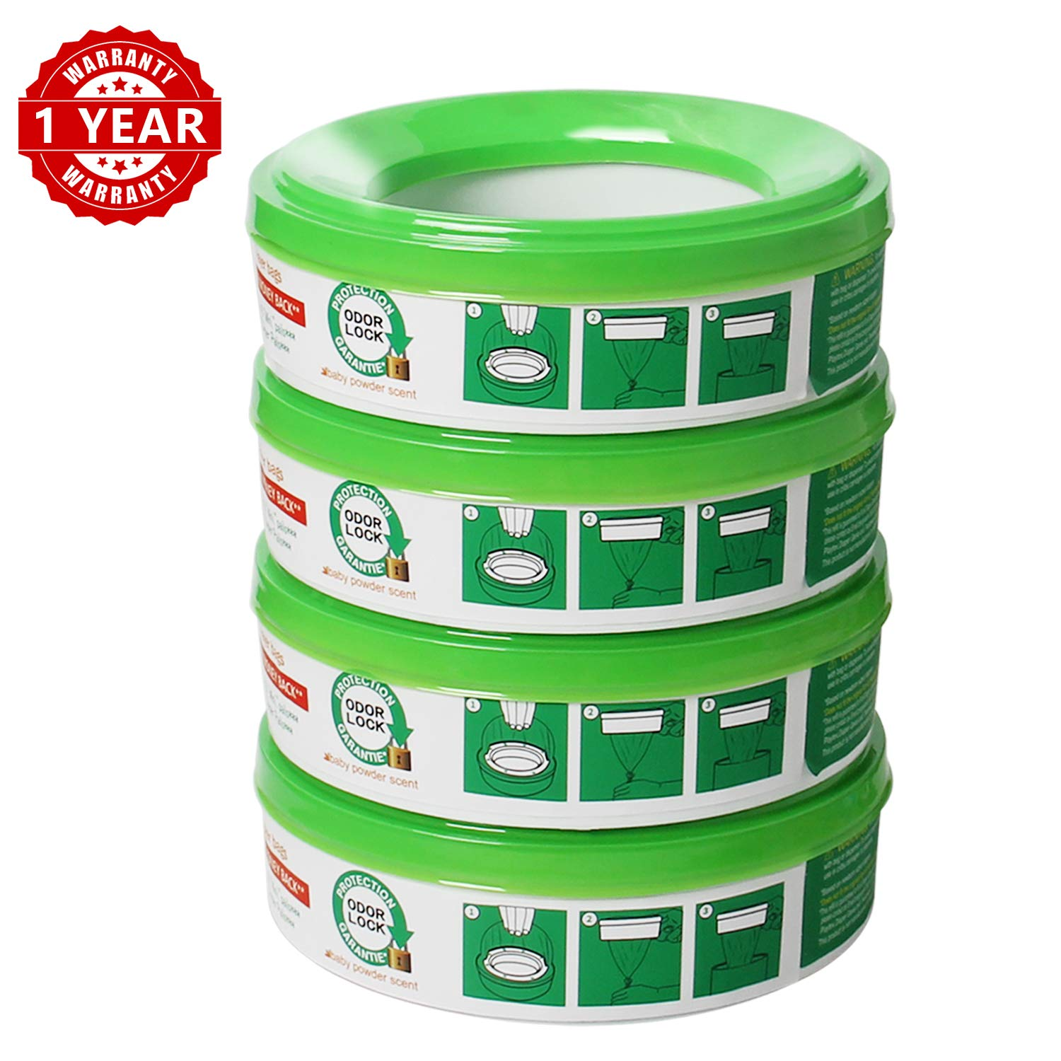 Refill for Diaper Genie and Diaper Pails,4-6 Months Supply ,280 Count, 4 Pack -Green
