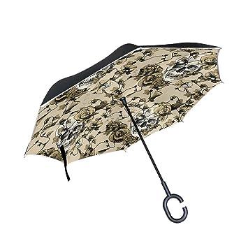 jstel doble capa auxiliar vintage calavera paraguas coches Reverse resistente al viento lluvia paraguas para coche