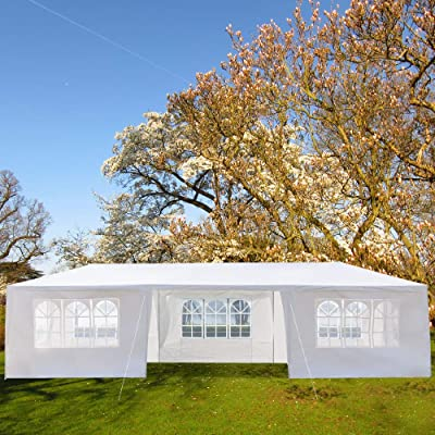 Lovinouse 10 x 30 FT Outdoor Canopy Tent, with Spiral Tubes and 7 Removable Sides, Portable Party Tent, Pavilion Patio Shelter for Parties, Wedding, BBQ, Outdoor Activities : Garden & Outdoor