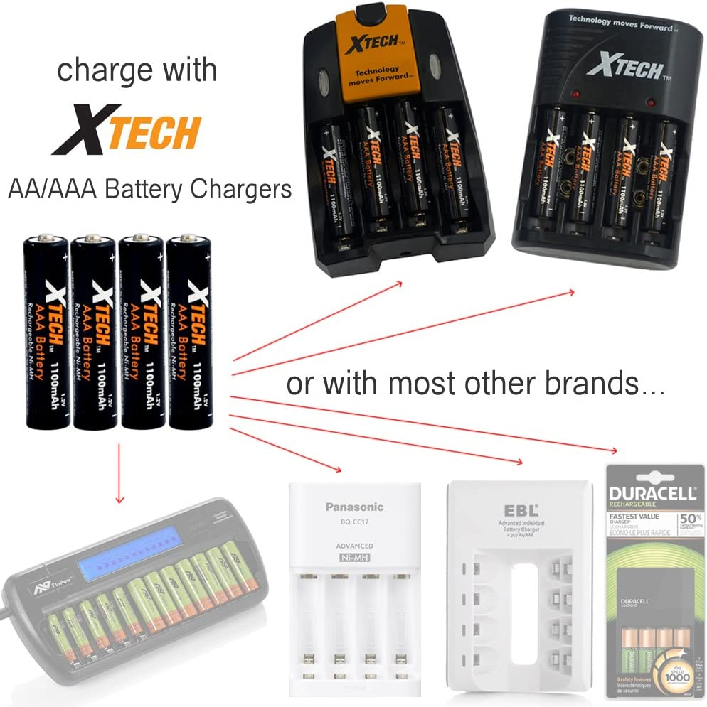 16 Pack Xtech AAA Ultra High-Capacity 1100mah Ni-MH Rechargeable Batteries