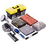 Mofeez 9pcs Car Cleaning Tools Kit with Blow Box Car Tire Brush Wash Mitt Sponge Wax Applicator Microfiber Cloths Window…