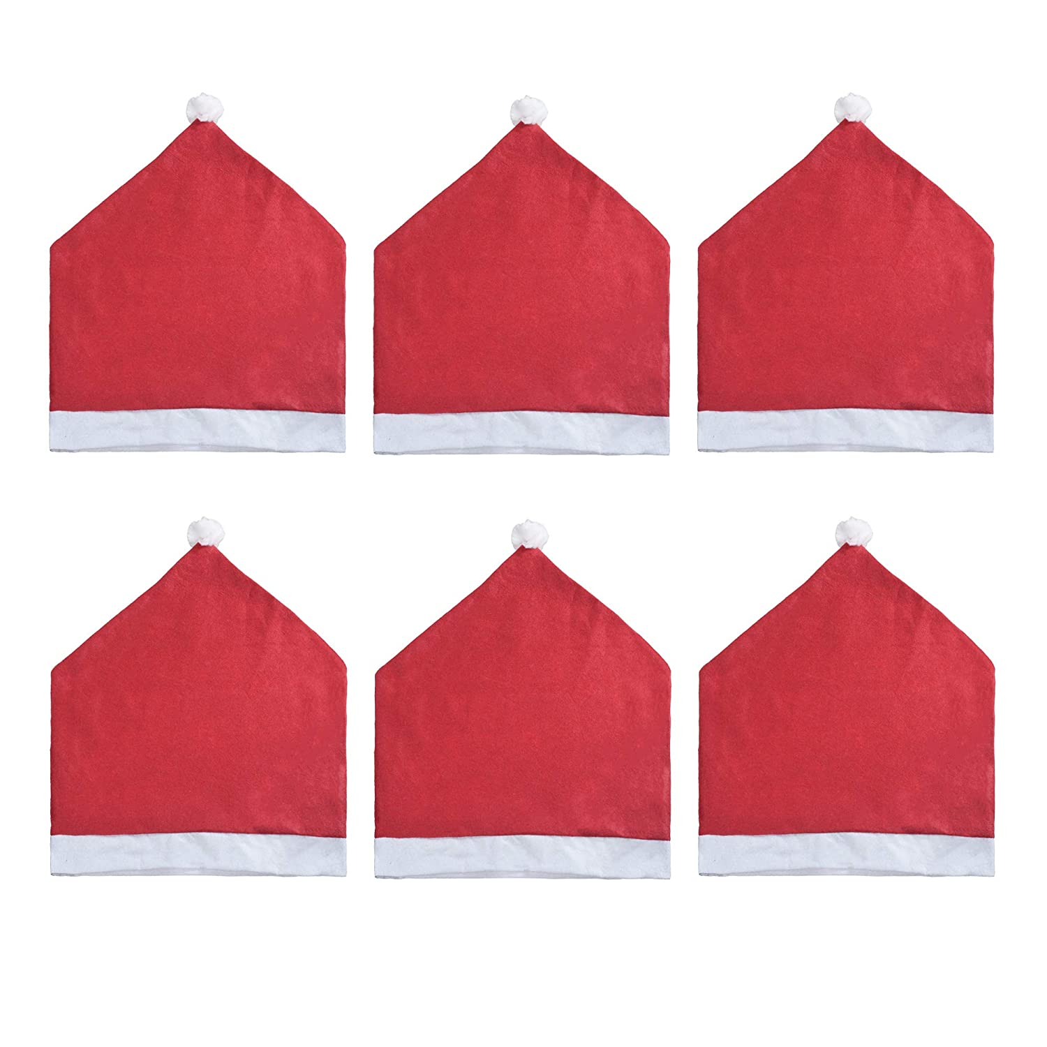 19 x 23 Inches CM Cosmos Pack of 6 Santa Claus Red Hat Chair Covers Chair Back Slipcovers for Dining Kitchen Chair Holiday Decoration