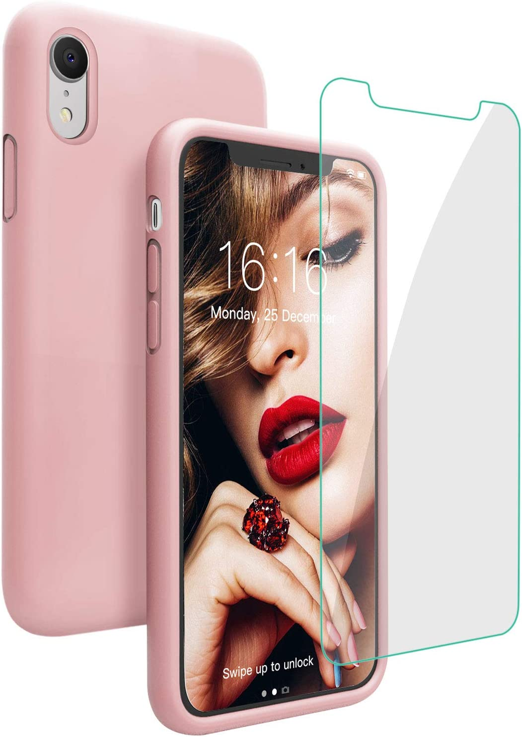 JASBON Case for iPhone XR, Soft Liquid Silicone iPhone XR Case with Tempered Glass Cover for iPhone XR-Pink Sand