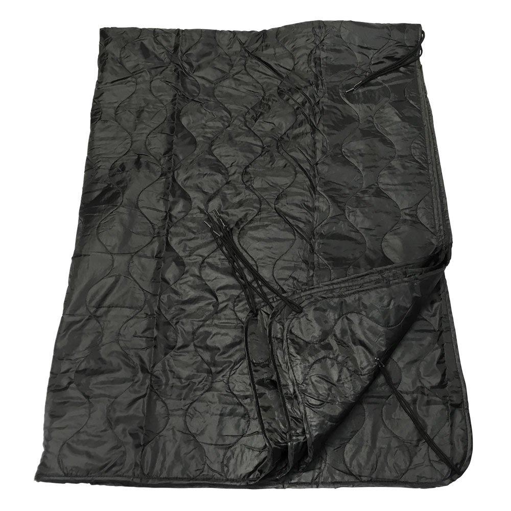 86'' BLACK G.I Style Poncho Liner Nylon Ripstop Sleeping Bag Blanket Sleeping Gear Hike Camping