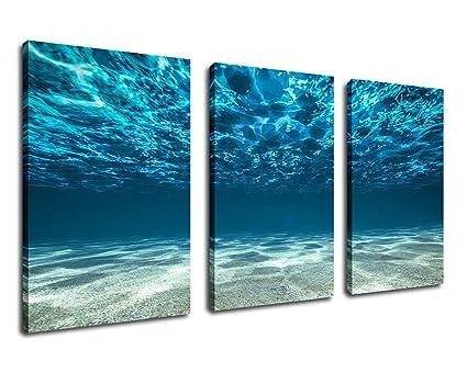 Ocean Canvas Wall Art Sea Waves Canvas Artwork 30u0026quot; X 60u0026quot; 3 Piece  Large