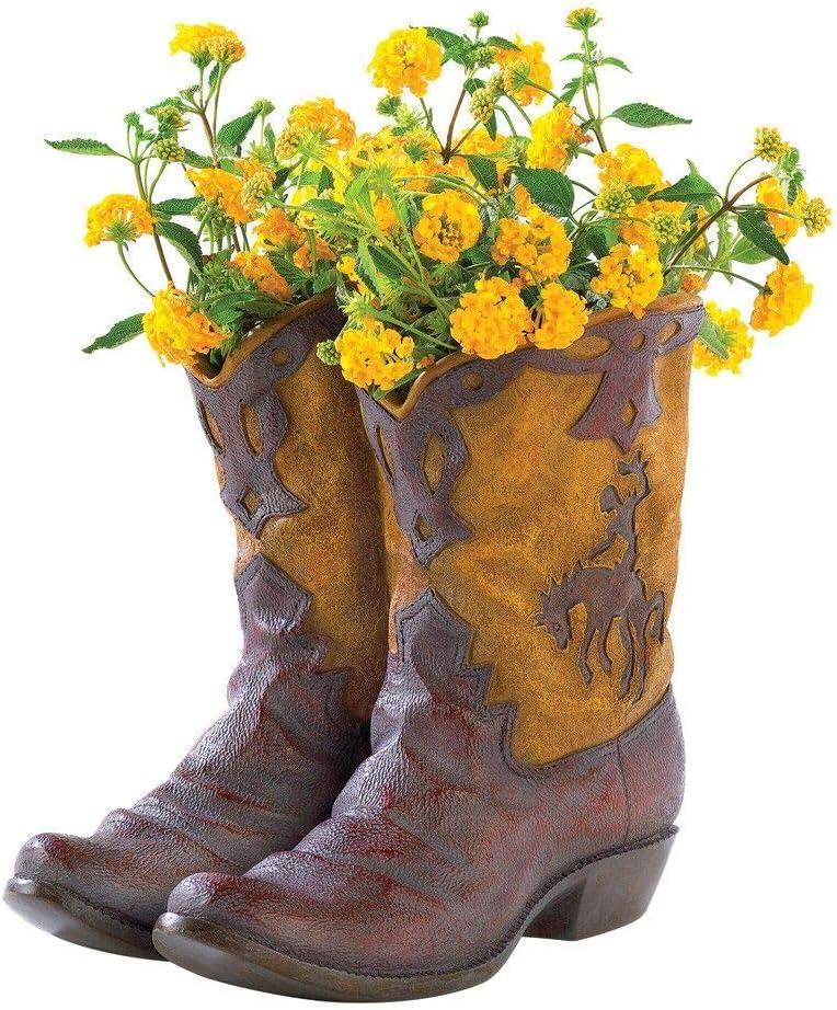 New Rustic Cowboy Boot Planter Flower Pot Western Garden Yard Patio Decor - Gift