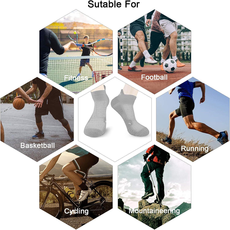 Abida 6 paia di calze sportive da corsa per uomini e donne imbottite caviglia trainer calzini atletici passeggiate