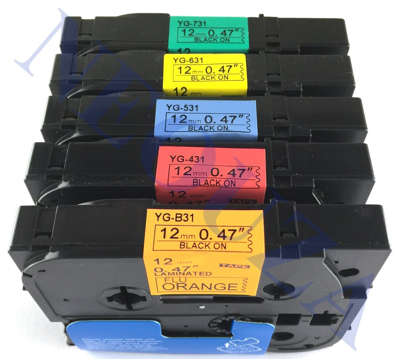 2 PK Black on Yellow TZe-631 TZ-631 Label Tape For Brother P-touch PT-P750W 2300