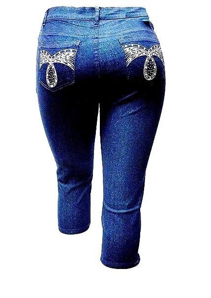 1826 Women's PLUS SIZE Stretch premium Denim JEANS CAPRI BLUE & BLACK PC-2686 Clothing, Shoes & Accessories