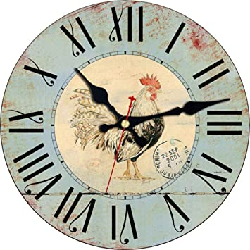 Mzdpp Diseño De Gallo De Madera De La Vendimia Relojes De Pared para Balcón Sala De