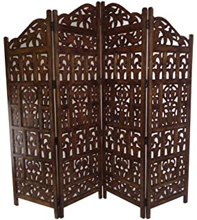 4 Panel Heavy Duty Indian Screen Wooden Gamla Design Screen Room Divider[Light  Brown,