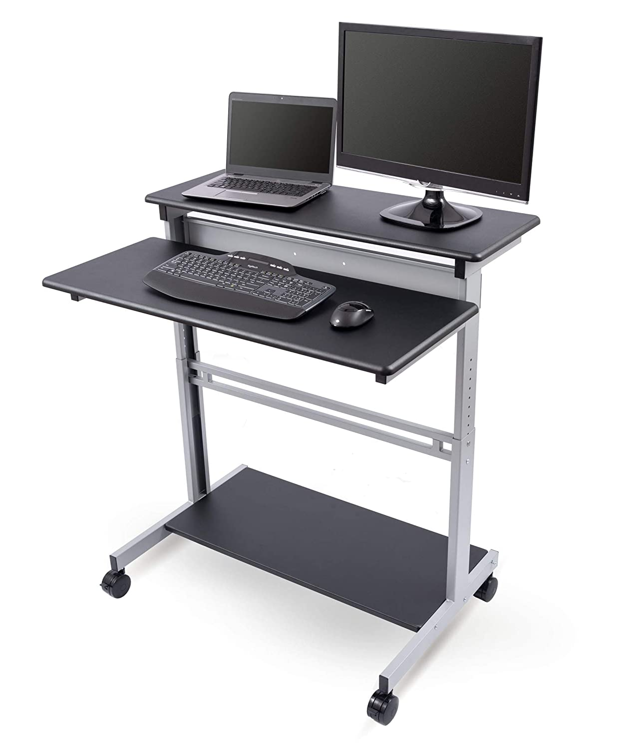 "40"" Black Shelves Mobile Ergonomic Stand Up Desk Computer Workstation"