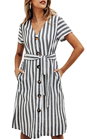 16061b02fd6 ECOWISH Women s Summer Striped Print V Neck Short Sleeve Button Down Belted Midi  Dress with Pockets