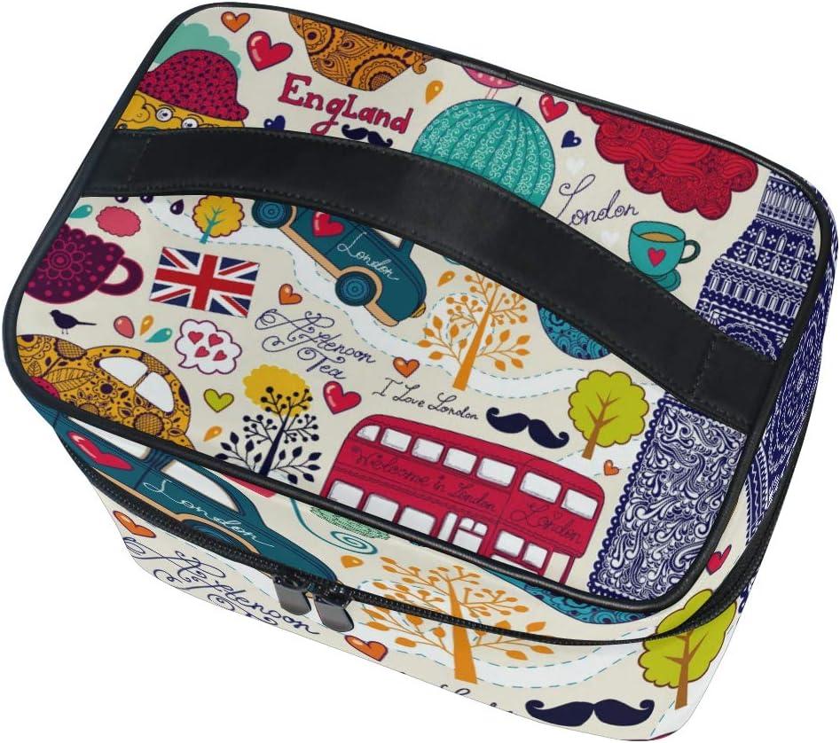 Bolsa de cosméticos con diseño de Big Ben de Inglaterra de Dibujos Animados, Bolsa organizadora de Maquillaje para Mujeres y niñas, Bolsa de Aseo portátil: Amazon.es: Equipaje