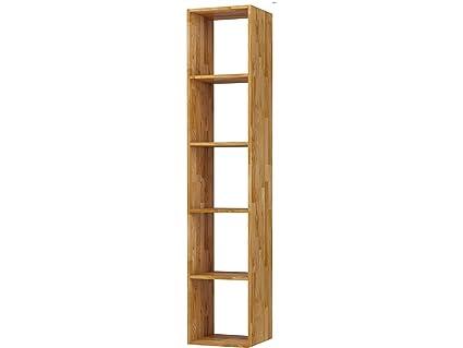 Loft24 Comfort Regal Eiche massiv Bücherregal Standregal Büroregal  Aktenregal Ordnerregal Holzregal Mehrzweckregal 36x174 cm 5 Fächer