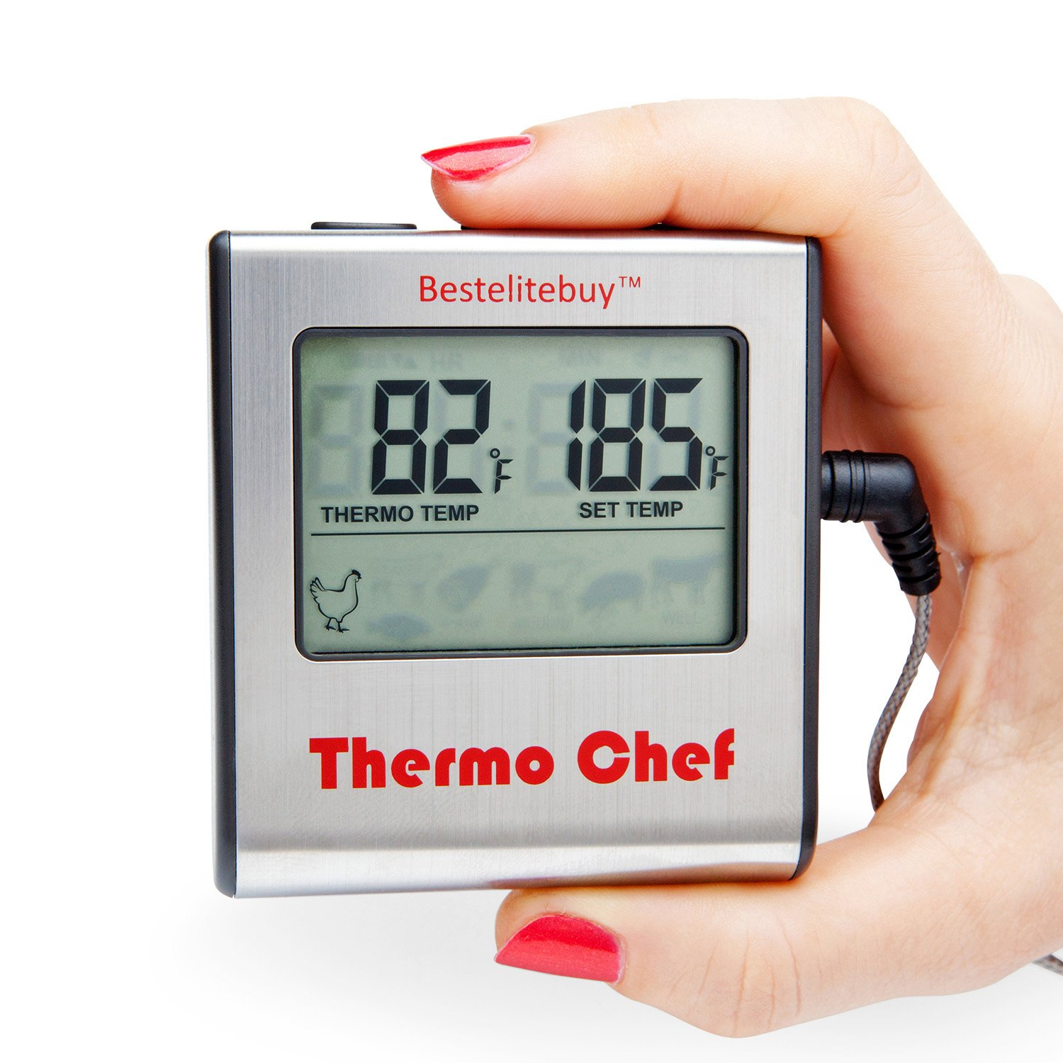 """Thermo Chef"" Cook like a Chef With The New Updated Universal Digital Meat Thermometer With A Large LCD Display For Cooking Food In The Kitchen Oven/Smoker Add It To Your Grill and BBQ Accessories"