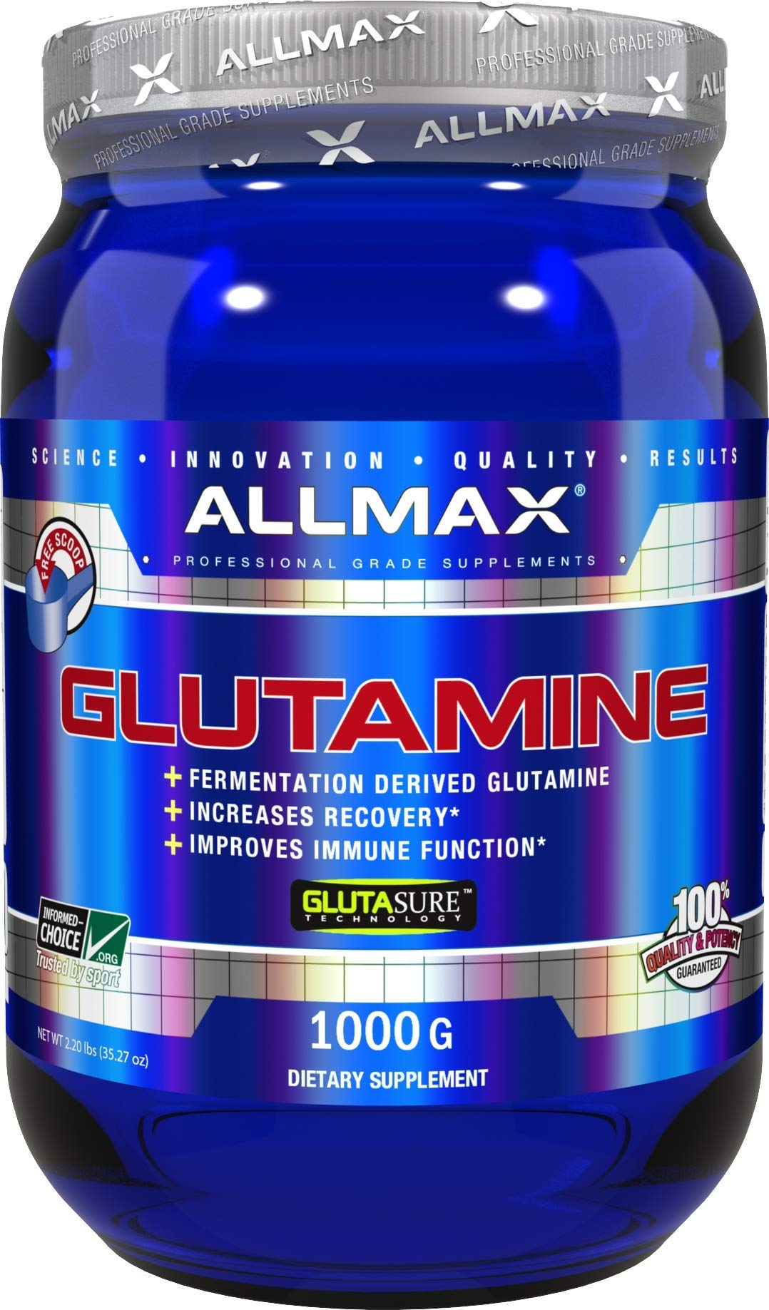 ALLMAX Nutrition 100% Pure Micronized Glutamine Powder, 1000g