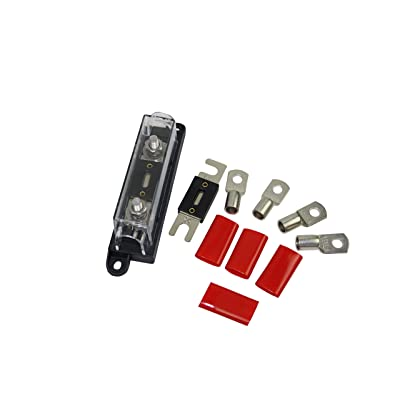 ANL Fuse Holder+2 pcs of 250A Fuses+4pcs of 1/0 AWG Cable Ring Terminal Lugs 5/16'+4 pcs Terminal insulators All-in- One Pack (250A): Car Electronics