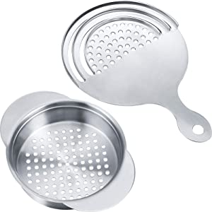 2 Pieces Stainless Steel Can Colander Food Fruit Can Strainer Tuna Can Strainer for Kitchen Regular-Size Cans, 2 Styles