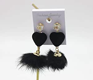 Heart-shaped hair ball feather pendant retro temperament personality fashion simple earrings