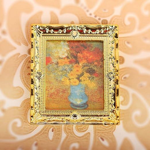 Casa De Muñecas vacío Medio Marco de oro 1:12 en miniatura accesorios