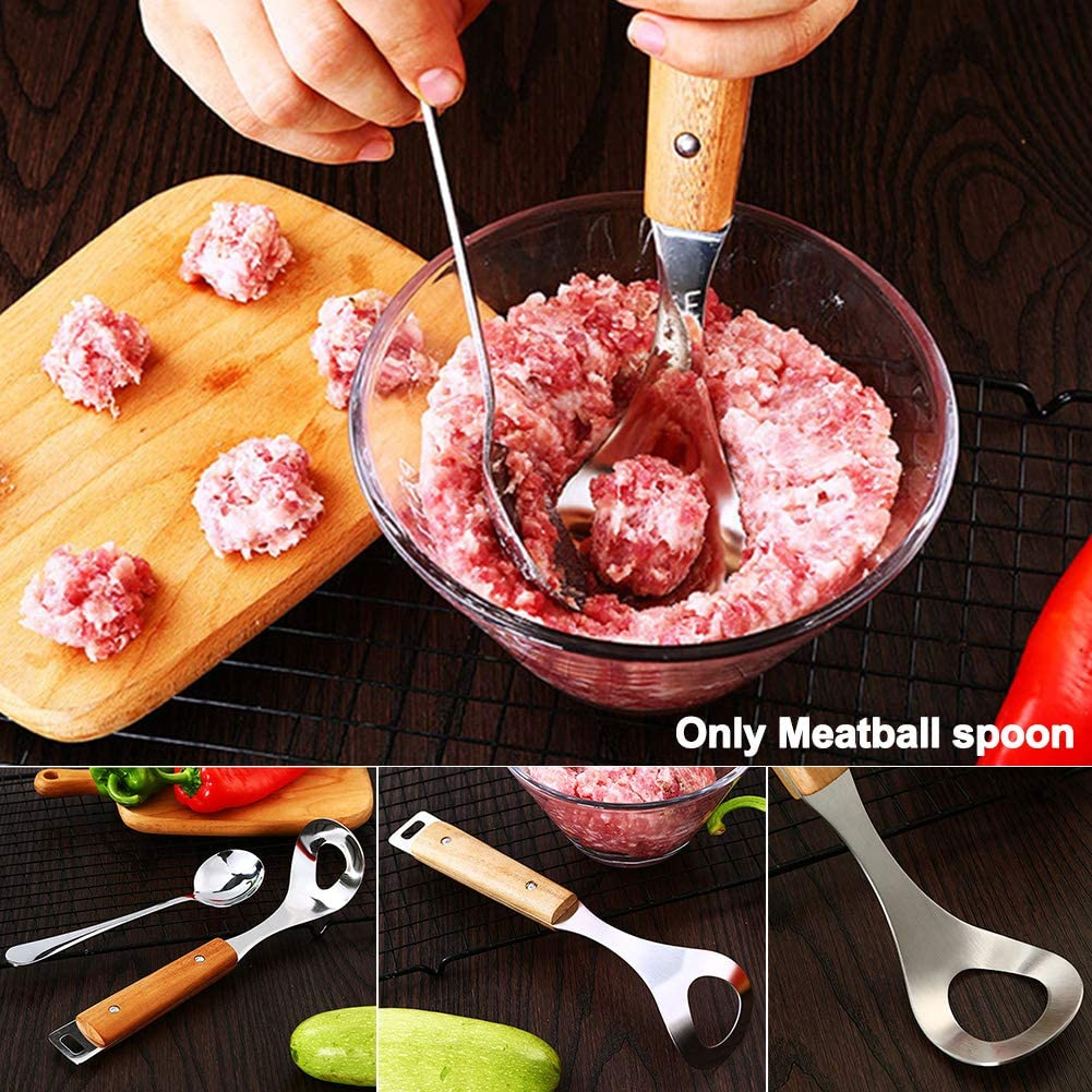 Meatball Spoon Restaurant Home Rustproof Non Stick Kitchen Tool Hanging Hole Oval Digging sy Clean DIY t Making Stainless Steel Long Handle