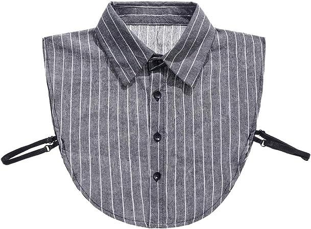 VAILANG Camisa de Mujer Collar Falso Rayas Blancas Grises Blusa de Cuello Falso Desmontable Solapa: Amazon.es: Hogar