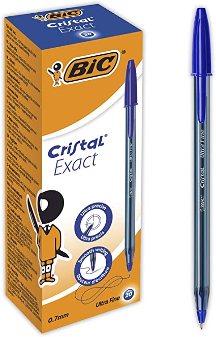 BIC Cristal Exact Bolígrafos Punta Fina (0,7 mm) - Azul, Caja de ...