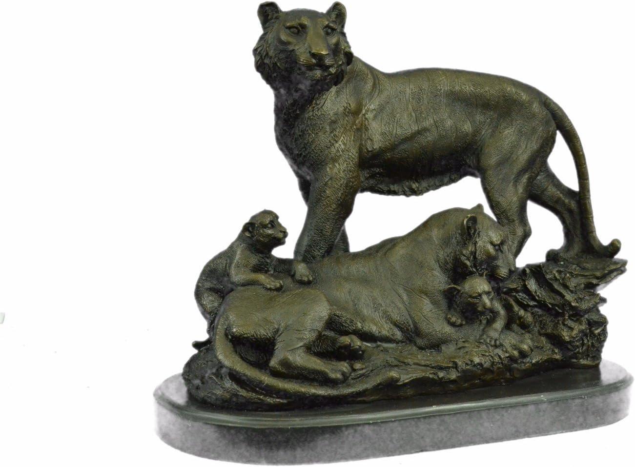 Large Lion Cougar Tiger Family Bronze Marble Sculpture Statue Figurine Art Deco Reproduction Antiques Antiques