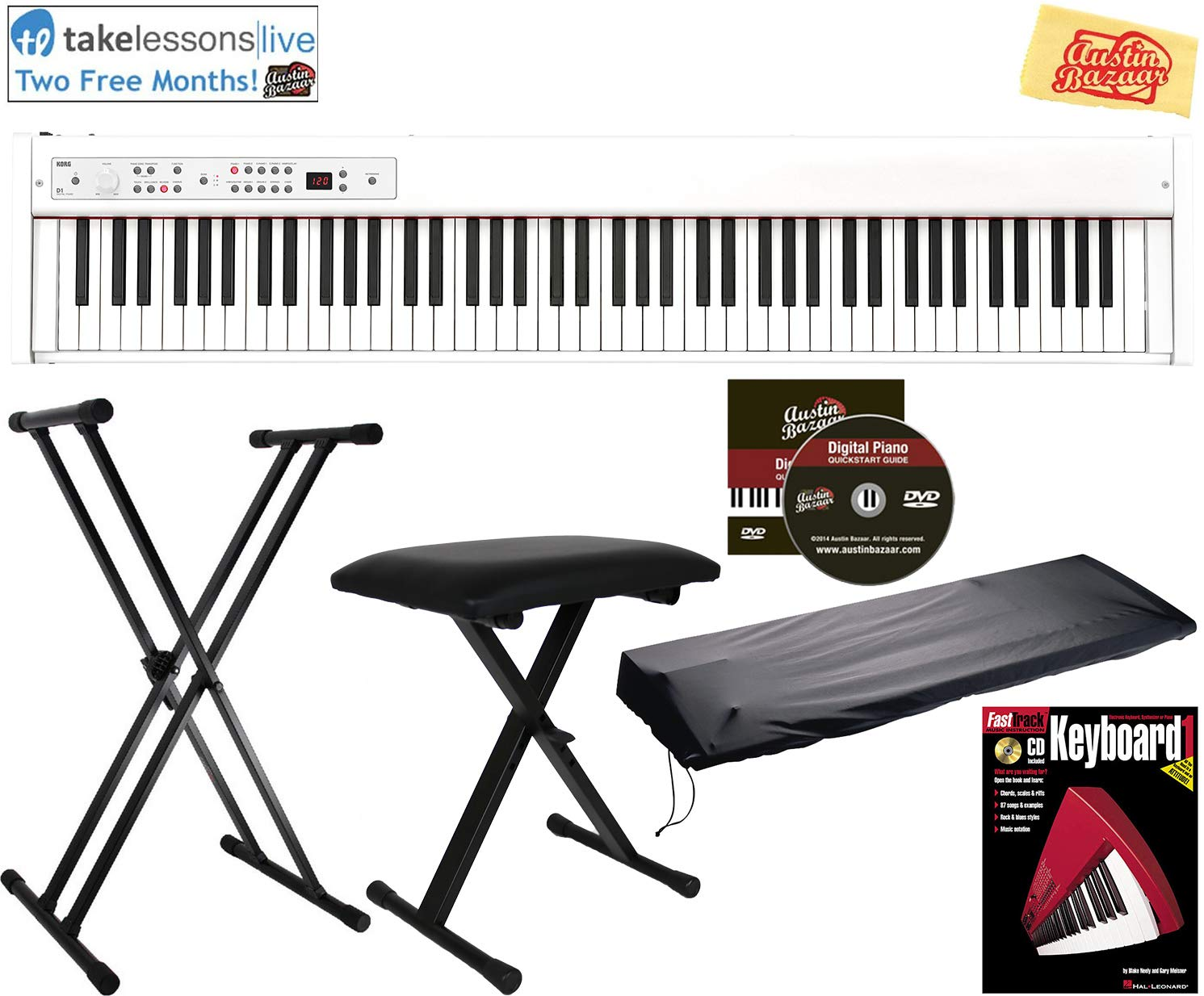 Korg D1 Digital Piano White Bundle with Adjustable Bench, Stand, Dust Cover, Instructional Book, Online Lessons, Austin Bazaar Instructional DVD, and Polishing Cloth by Austin Bazaar