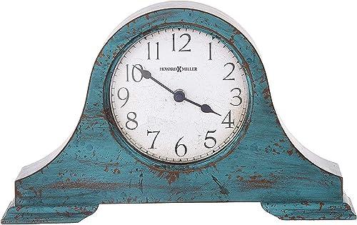 Howard Miller Tamson Mantel Clock 635-181 Worn Teal Blue with Quartz Movement