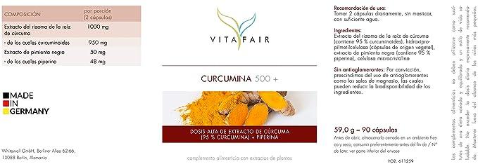 Cúrcuma | 1000mg por porción | 90 cápsulas | 95% de Curcumina=950mg | + Piperina | Vegano | Máxima biodisponibilidad | Hecho en Alemania: Amazon.es: Salud ...