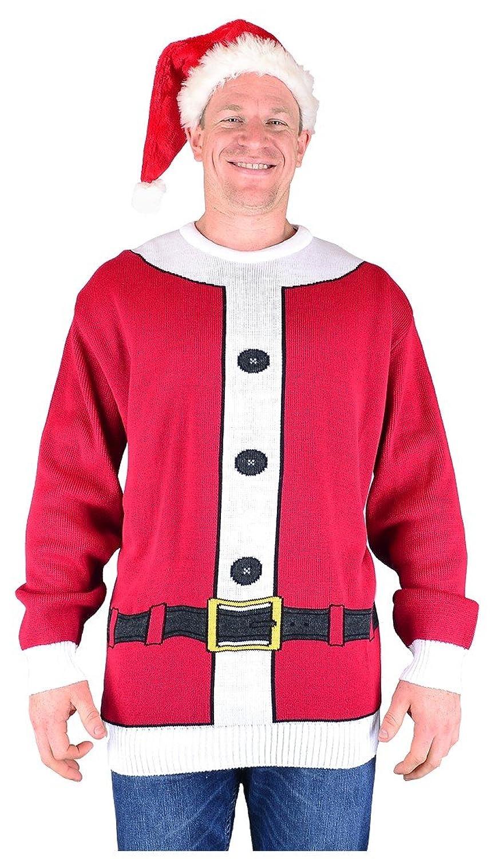Big Mens Santa Brooklyn Scenes Christmas Jumper and Hat Set 2xl 3xl 4xl 5xl